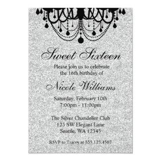 Cumpleaños negro y de plata del dulce 16 de la invitación 12,7 x 17,8 cm