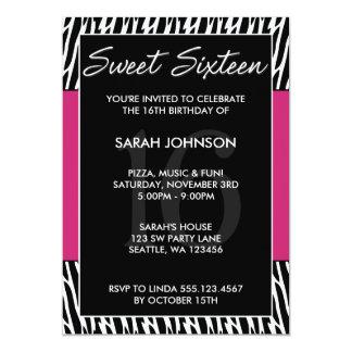 """Cumpleaños negro y rosado del dulce 16 del modelo invitación 5"""" x 7"""""""