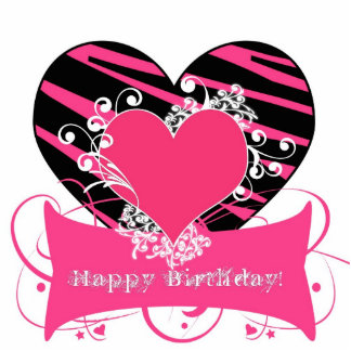 Cumpleaños negro y rosado XLCenterpiece de la Escultura Fotográfica