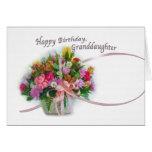 Cumpleaños, nieta, cesta de la flor tarjeta de felicitación
