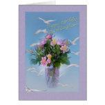 Cumpleaños, nieta, flores y pájaros tarjeta de felicitación
