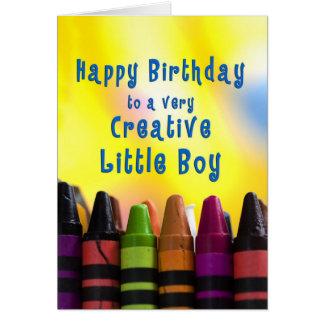 cumpleaños - niño pequeño - creyones tarjeta de felicitación