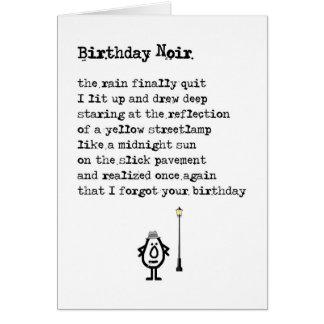 Cumpleaños Noir - un poema tardío divertido del Tarjeta De Felicitación