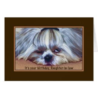 Cumpleaños nuera perro soñoliento de Shih Tzu Felicitación