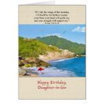 Cumpleaños, nuera, playa, colinas, pájaros felicitaciones