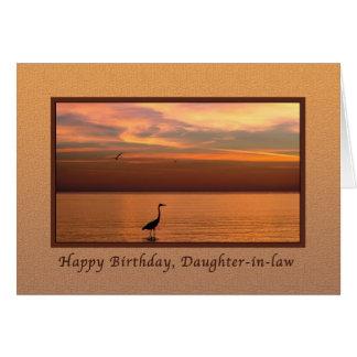 Cumpleaños, nuera, vista al mar en la puesta del tarjeta de felicitación