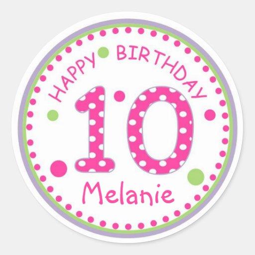 Cumpleaños número 10 del lunar de las rosas etiquetas redondas