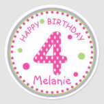 Cumpleaños número 4 del lunar de las rosas fuertes etiqueta redonda
