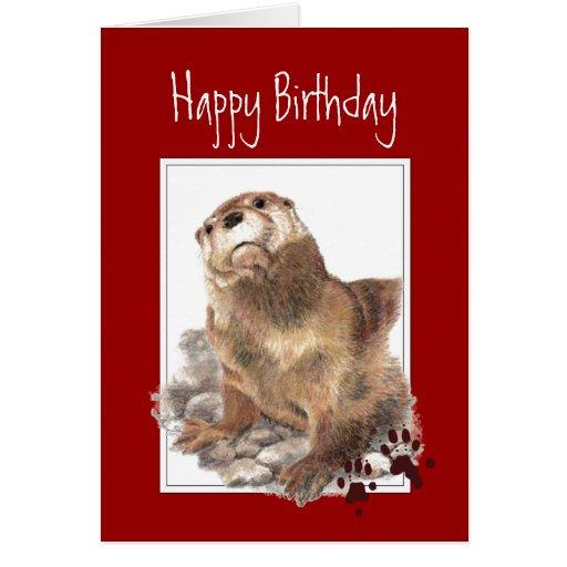 Cumpleaños, nutria significativa, animal divertido tarjeta de felicitación