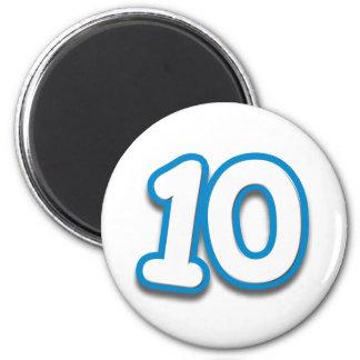 Cumpleaños o aniversario de 10 años - añada el tex imán redondo 5 cm