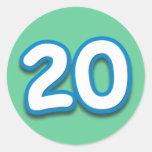 Cumpleaños o aniversario de 20 años - añada el pegatinas redondas