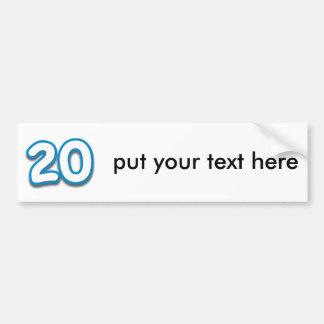 Cumpleaños o aniversario de 20 años - añada el tex pegatina para auto