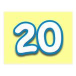 Cumpleaños o aniversario de 20 años - añada el tex postales