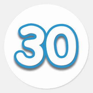 Cumpleaños o aniversario de 30 años - añada el pegatina redonda