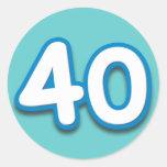Cumpleaños o aniversario de 40 años - añada el pegatina redonda