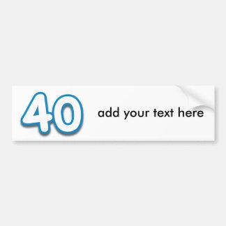 Cumpleaños o aniversario de 40 años - añada el tex pegatina para auto