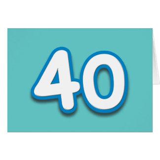 Cumpleaños o aniversario de 40 años - añada el tex tarjeta de felicitación