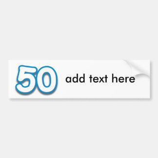 Cumpleaños o aniversario de 50 años - añada el tex pegatina para auto