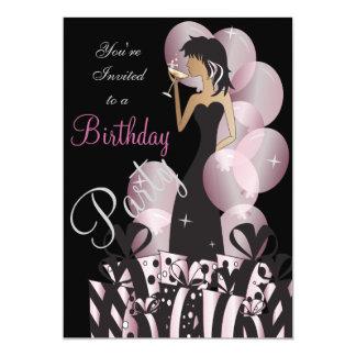 """Cumpleaños o chica marchosa rosada de Bachelorette Invitación 5"""" X 7"""""""