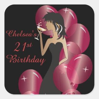 Cumpleaños o princesa Girl de la diva del fiesta Pegatina Cuadrada
