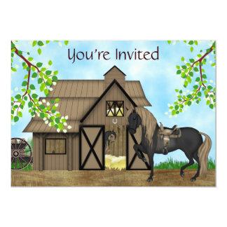 """Cumpleaños occidental del caballo de los chicas de invitación 5"""" x 7"""""""