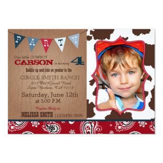 """Cumpleaños occidental del tema del pañuelo rojo invitación 5"""" x 7"""""""