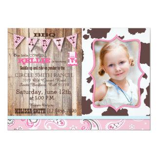 """Cumpleaños occidental del tema del pañuelo rosado invitación 5"""" x 7"""""""