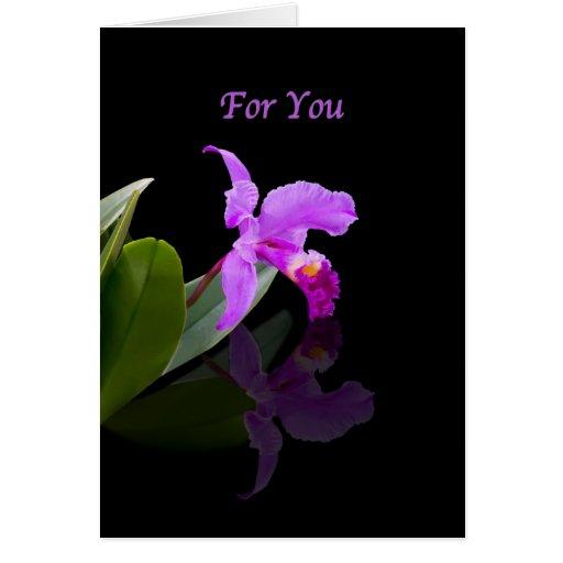 Cumpleaños, orquídea reflejada en tarjeta negra