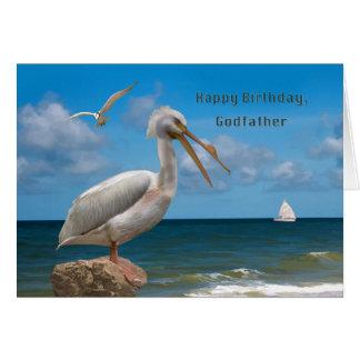 Cumpleaños, padrino, pelícano blanco en una roca tarjeta de felicitación