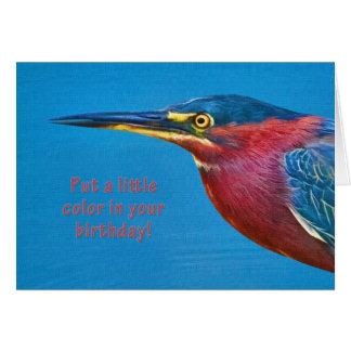 Cumpleaños, pájaro verde de la garza tarjeta de felicitación