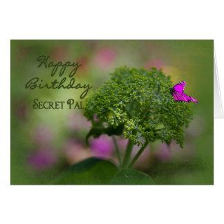 Cumpleaños - PAL secreto - mariposa rosada en verd Tarjeta De Felicitación