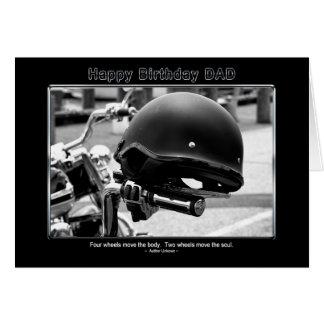 Cumpleaños - papá - casco del motorista - motocicl tarjeta de felicitación