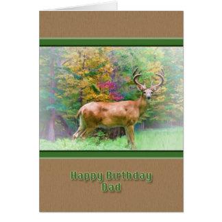 Cumpleaños, papá, ciervo en la tarjeta de maderas