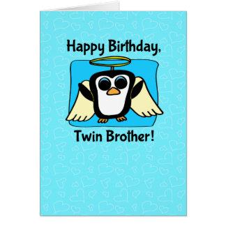Cumpleaños para Brother gemelo - poco pingüino del Tarjeta De Felicitación