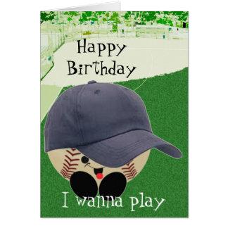 Cumpleaños para el aficionado al béisbol tarjeta de felicitación