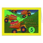 Cumpleaños para el nieto, los camiones volquete y  felicitaciones