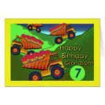 Cumpleaños para el nieto, los camiones volquete y  tarjeton