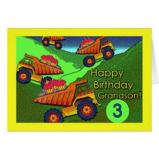 Cumpleaños para el nieto, los camiones volquete y tarjeta de felicitación