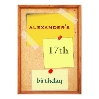 """Cumpleaños para hombre del tablero del Pin 17mo Invitación 5"""" X 7"""""""