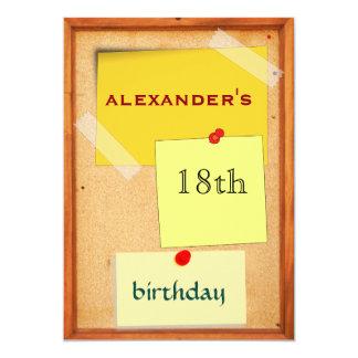 """Cumpleaños para hombre del tablero del Pin décimo Invitación 5"""" X 7"""""""