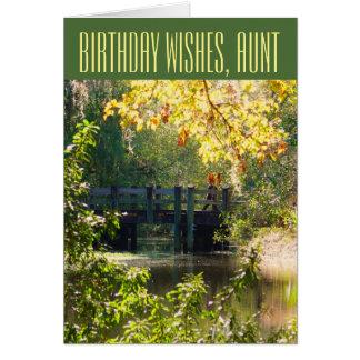 Cumpleaños, para una tía, puente sobre el lago tarjeta de felicitación