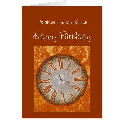 Cumpleaños pasado de moda con humor del reloj del  tarjetas