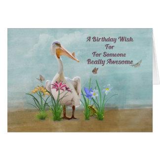 Cumpleaños, pelícano, flores y mariposas tarjeta de felicitación