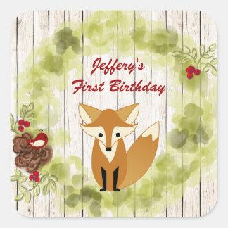 Cumpleaños personalizado de Bkg del Fox, de la Pegatina Cuadrada