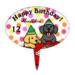 Cumpleaños personalizado de los perritos de Labrad Figuras Para Tartas