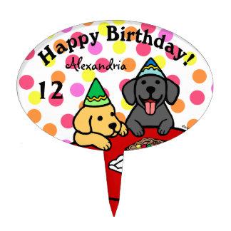 Cumpleaños personalizado de los perritos de Labrad Figuras De Tarta