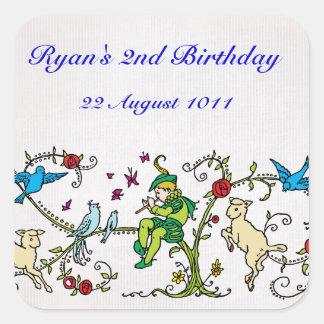 Cumpleaños personalizado gaitero de varios colores pegatina cuadrada