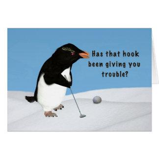 Cumpleaños, pingüino chistoso que juega a golf tarjetas