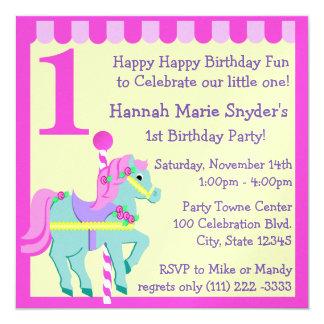 """Cumpleaños pintado del potro invitación 5.25"""" x 5.25"""""""