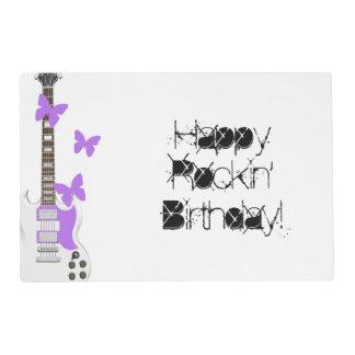 Cumpleaños, placemat de papel, guitarra, rosa, tapete individual